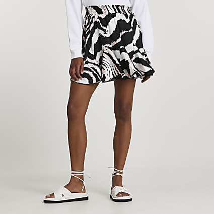 Black abstract mini skirt