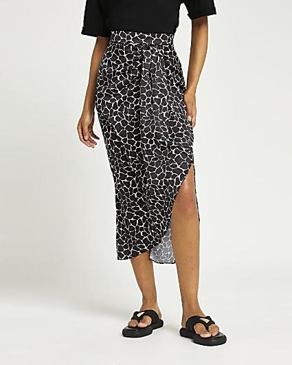 Black abstract print side split midi skirt