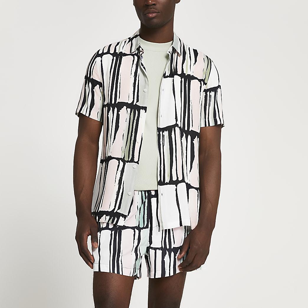Black abstract print slim fit shirt