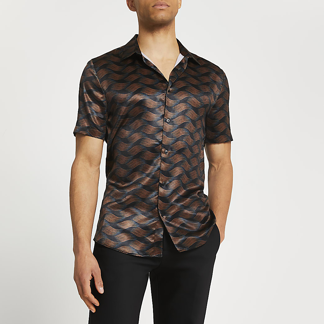 Black abstract print slim fit shirt