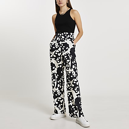Black abstract print wide leg trousers