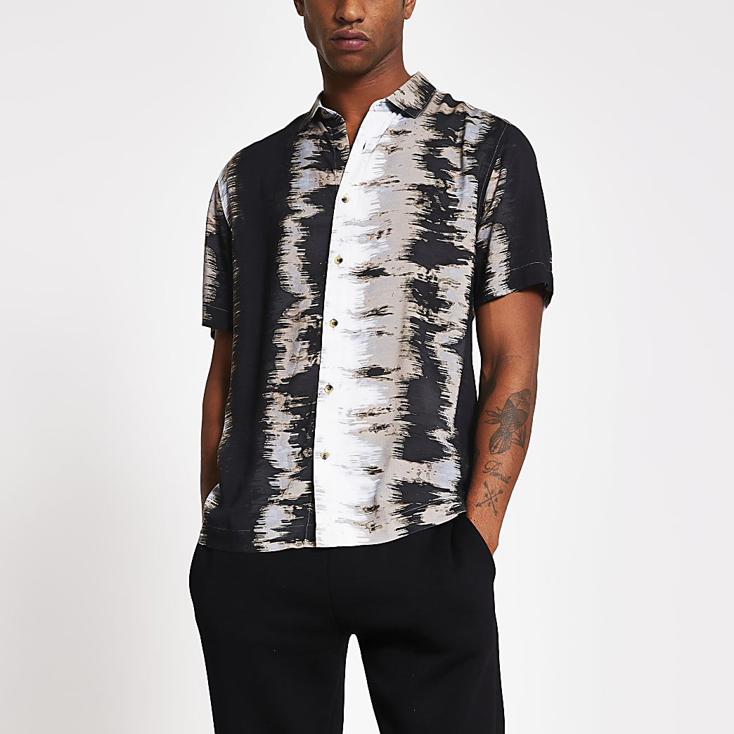 Zwart regular-fit overhemd met abstracte print