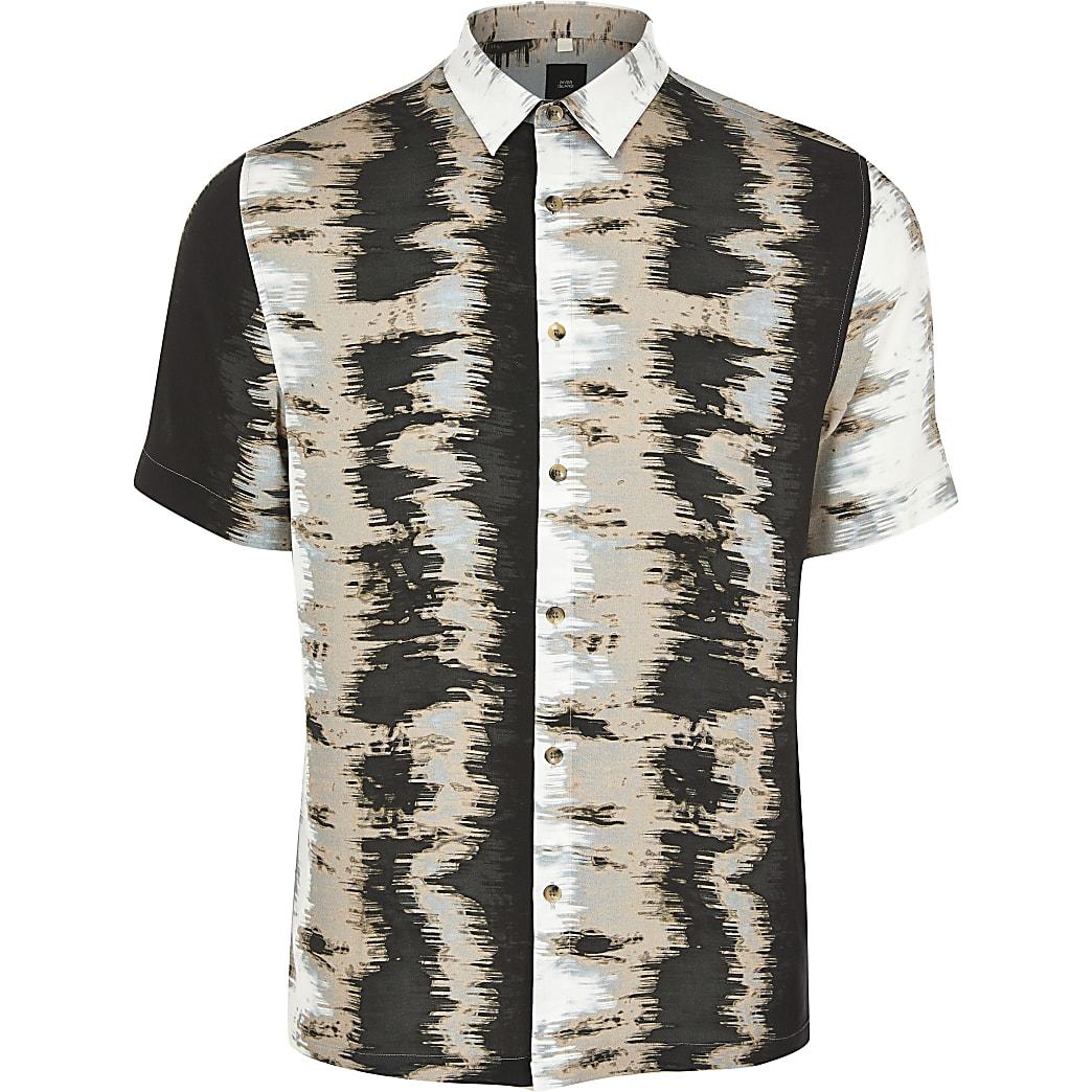Black abstract printed short sleeve shirt