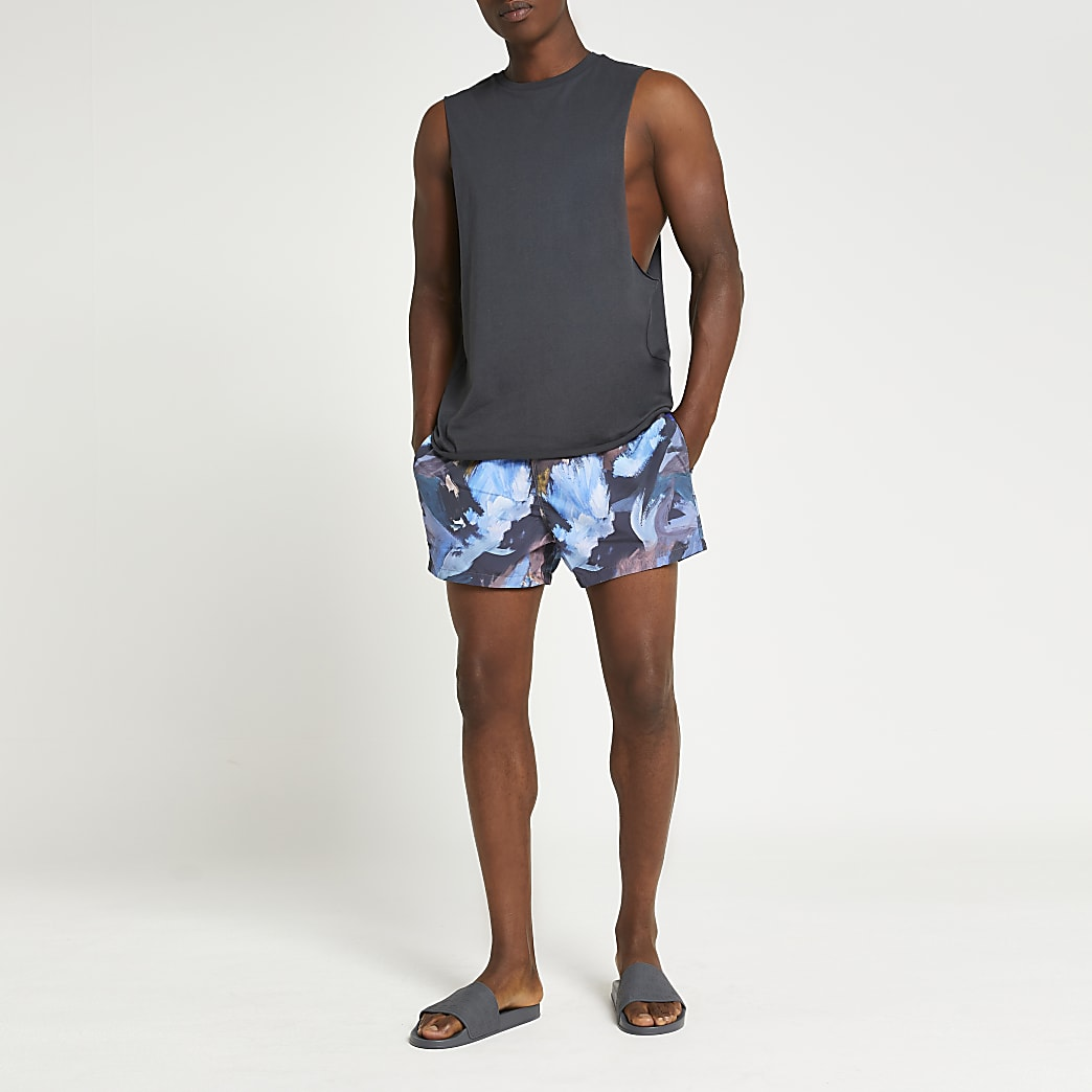 Black abstract printed swim shorts