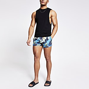Black abstract printed swim shorts