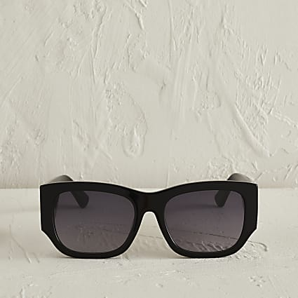 Black acetate large cateye sunglasses