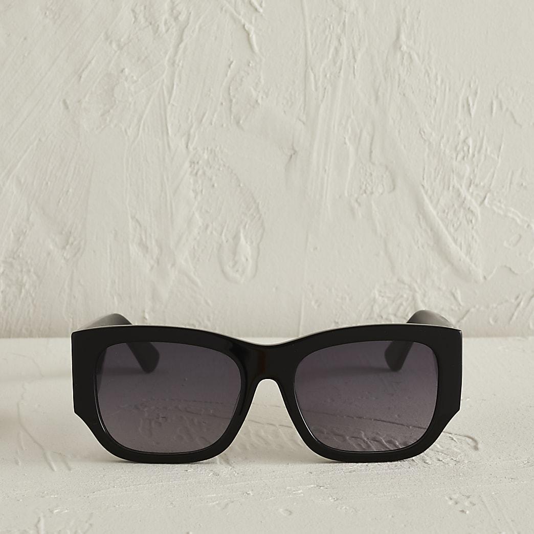 Black acetate large cateye sunglasses