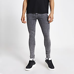 Ollie – Jean ultra-skinny noir délavé à l'acide