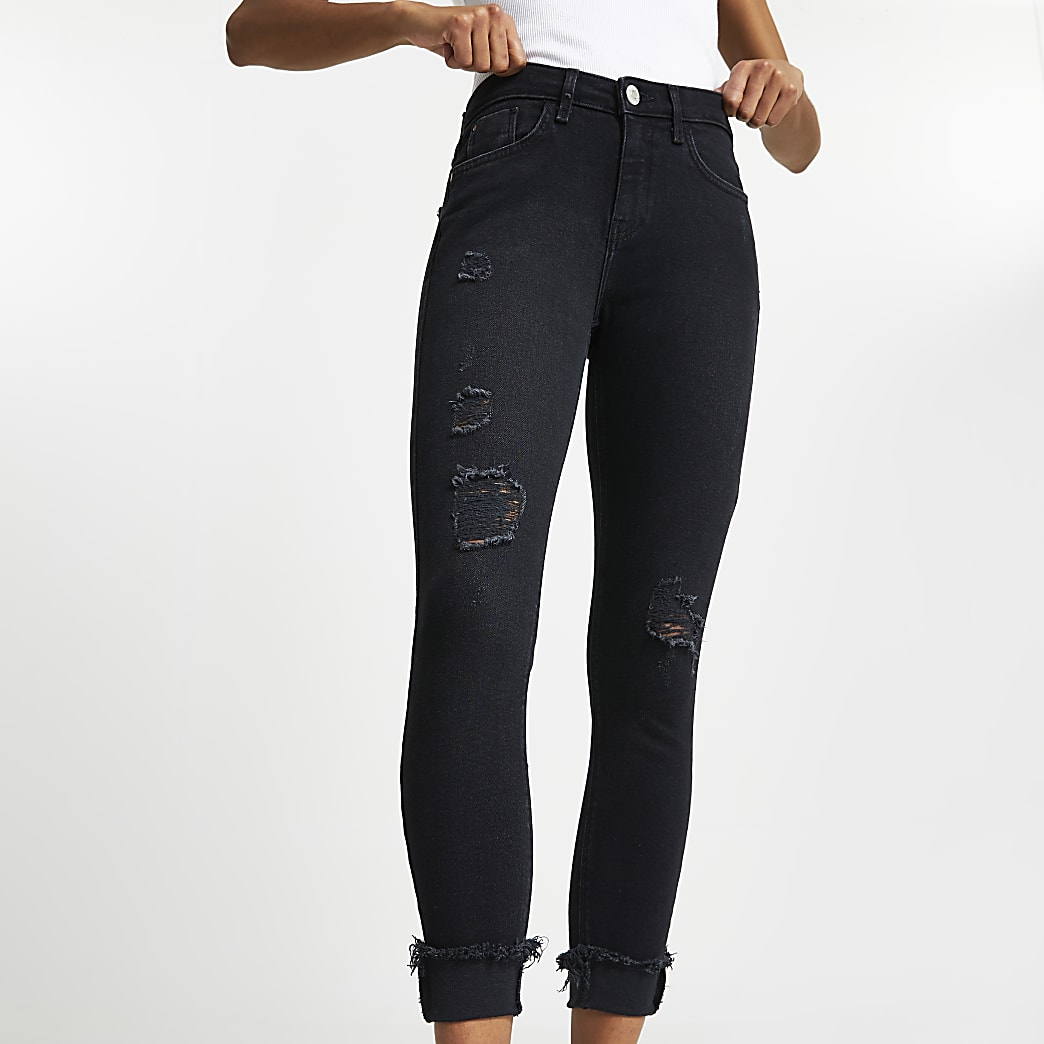 Amelie – Schwarze Mid-Rise-Jeans im Used-Look