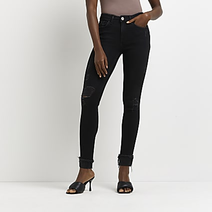 Black amelie ripped mid rise jeans