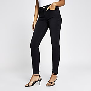 Black Amelie turn up hem skinny jeans