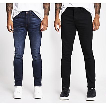 Black and blue Dylan slim denim jeans 2 pack