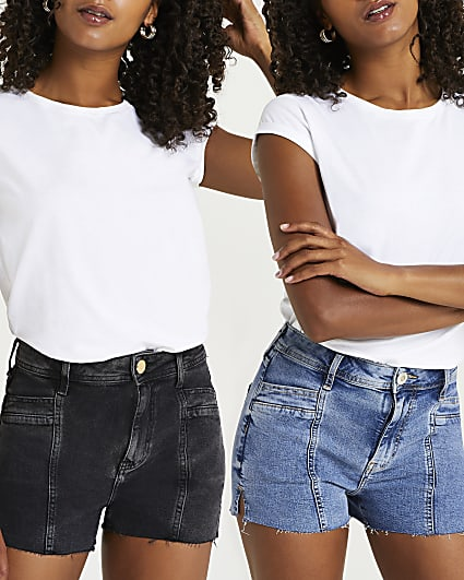 Black & blue mid rise denim shorts multipack