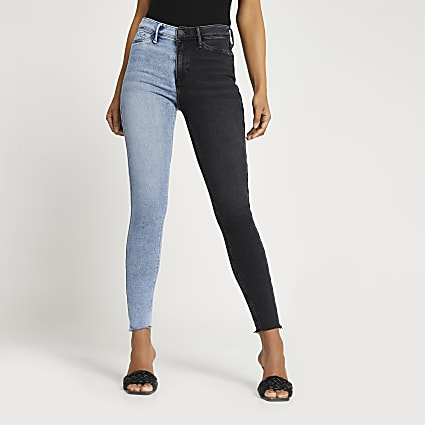 Black and blue Molly mid rise jeans