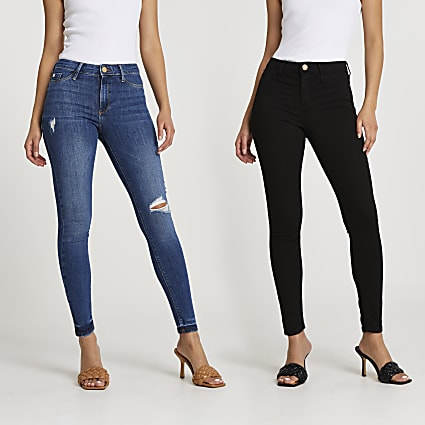 Black and Blue Molly skinny jeans multipack