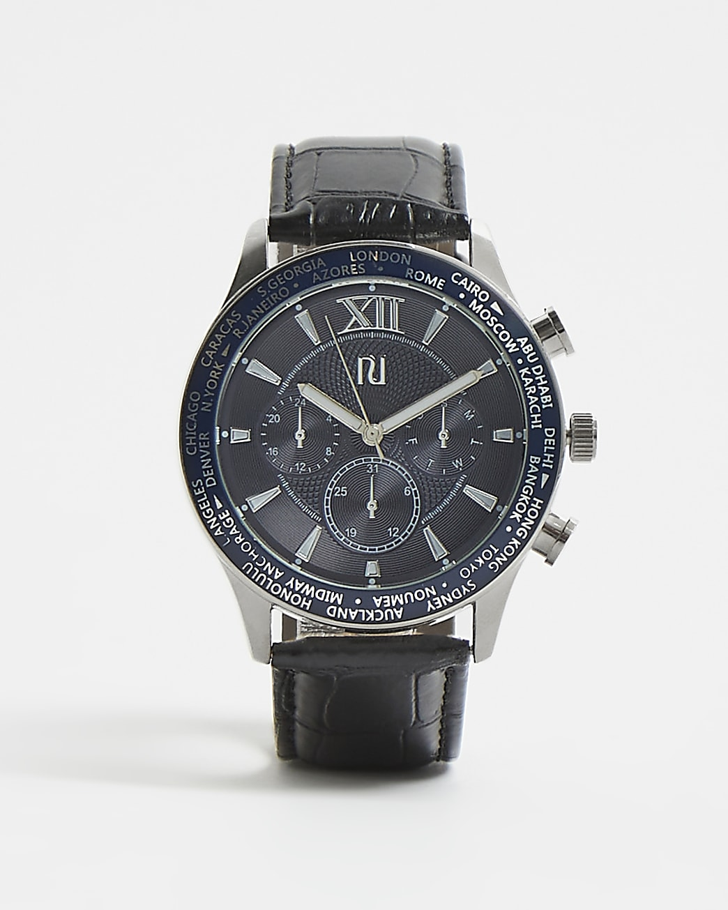 Black and blue RI branded croc strap watch