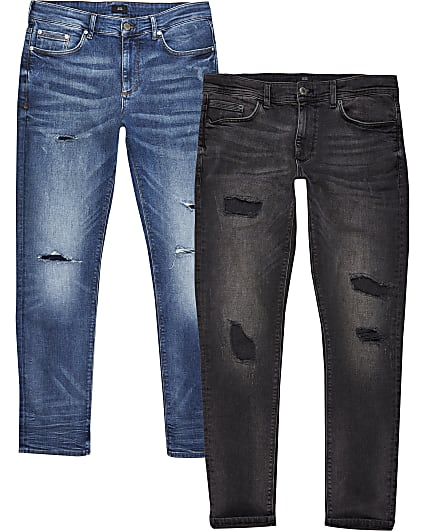 Black & blue ripped skinny jeans 2 pack