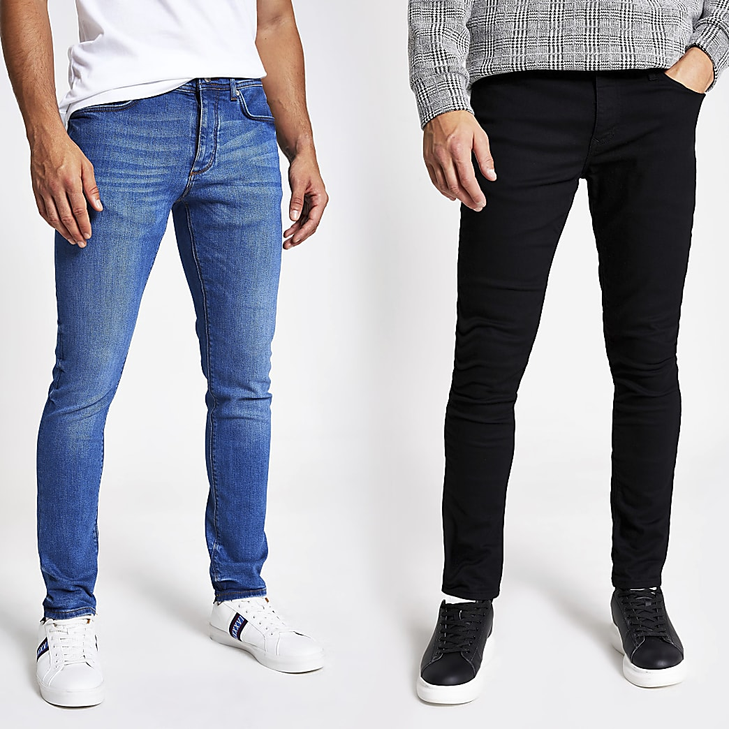 Black and blue skinny denim jeans 2 pack