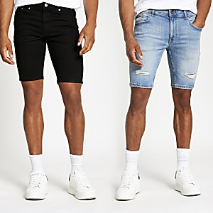 Black and blue skinny denim shorts 2 pack
