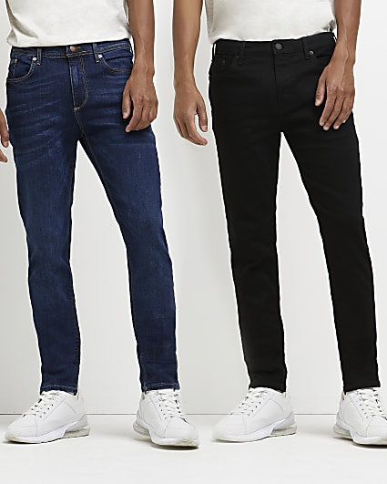 Black and blue skinny fit jeans 2 pack