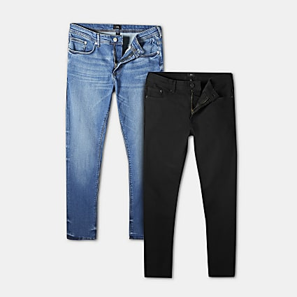 Black & blue skinny fit jeans 2 pack