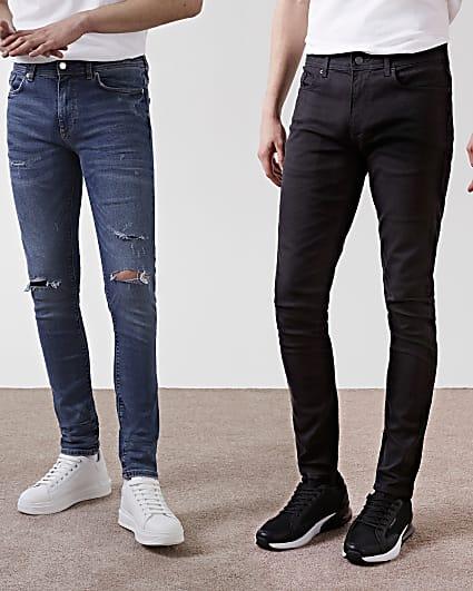 Black & blue skinny jeans 2 pack
