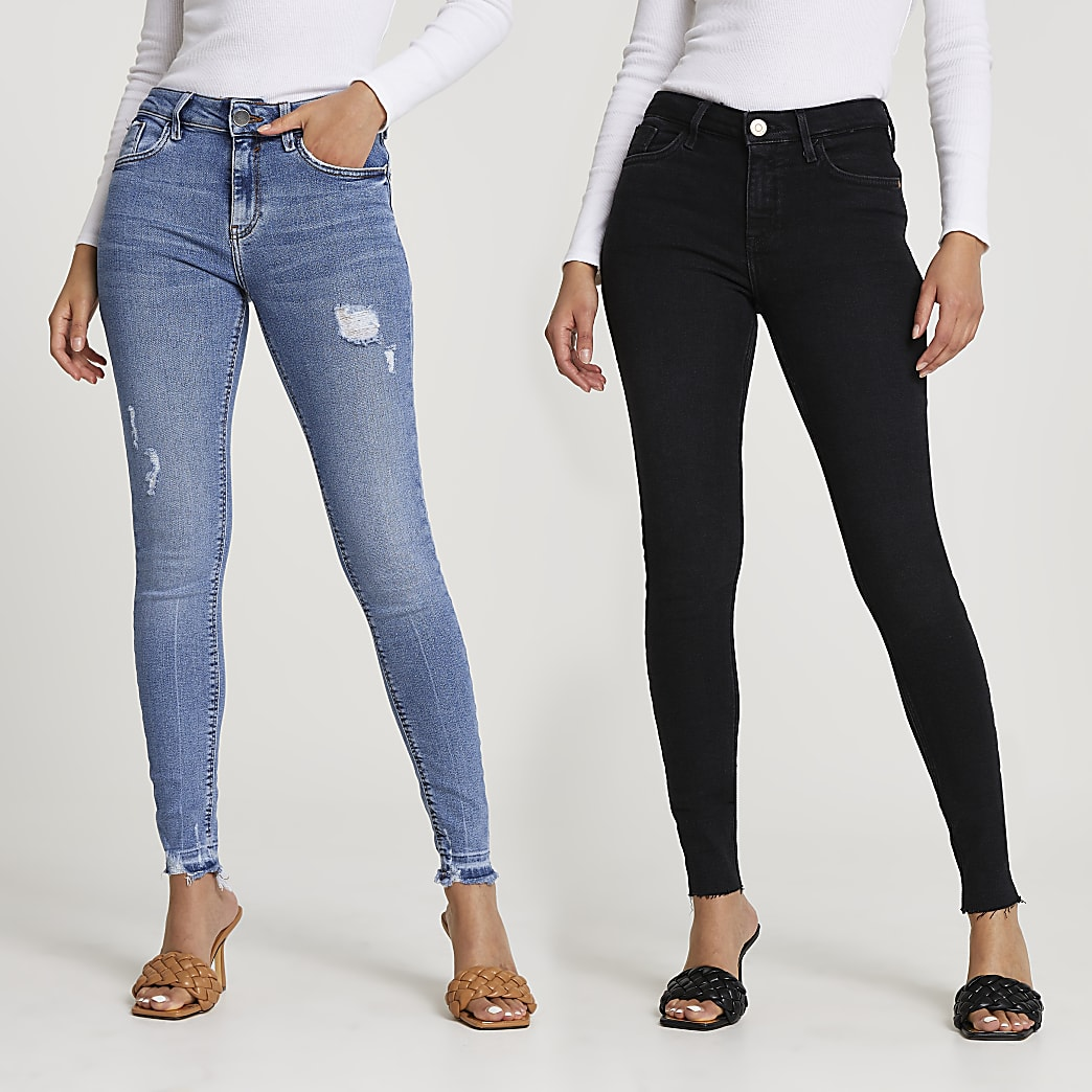 Black and blue skinny jeans multipack