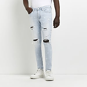 Zwarte en blauwe slim-fit denim jeans set van 2