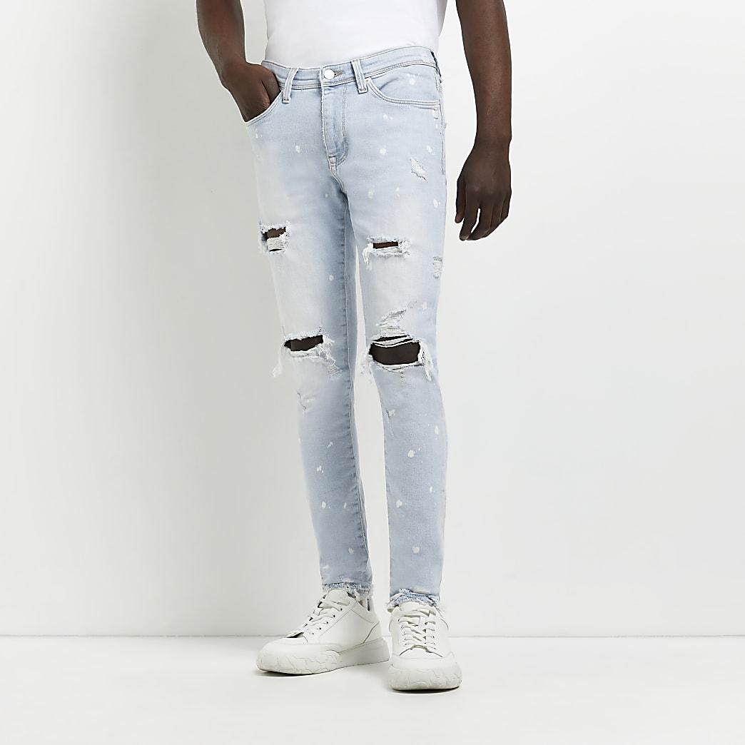 Black and blue slim fit denim jeans 2 pack