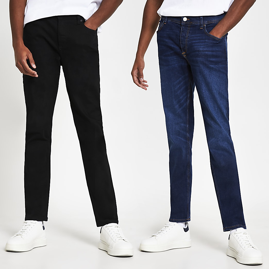 Black & blue slim fit jeans 2 pack
