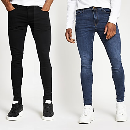 Black and blue spray on skinny jeans 2 pack
