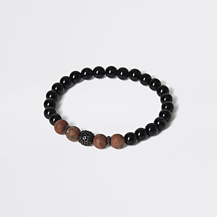 Black and brown stone beaded bracelet