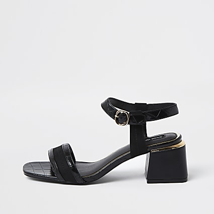 Black and gold block heel sandals
