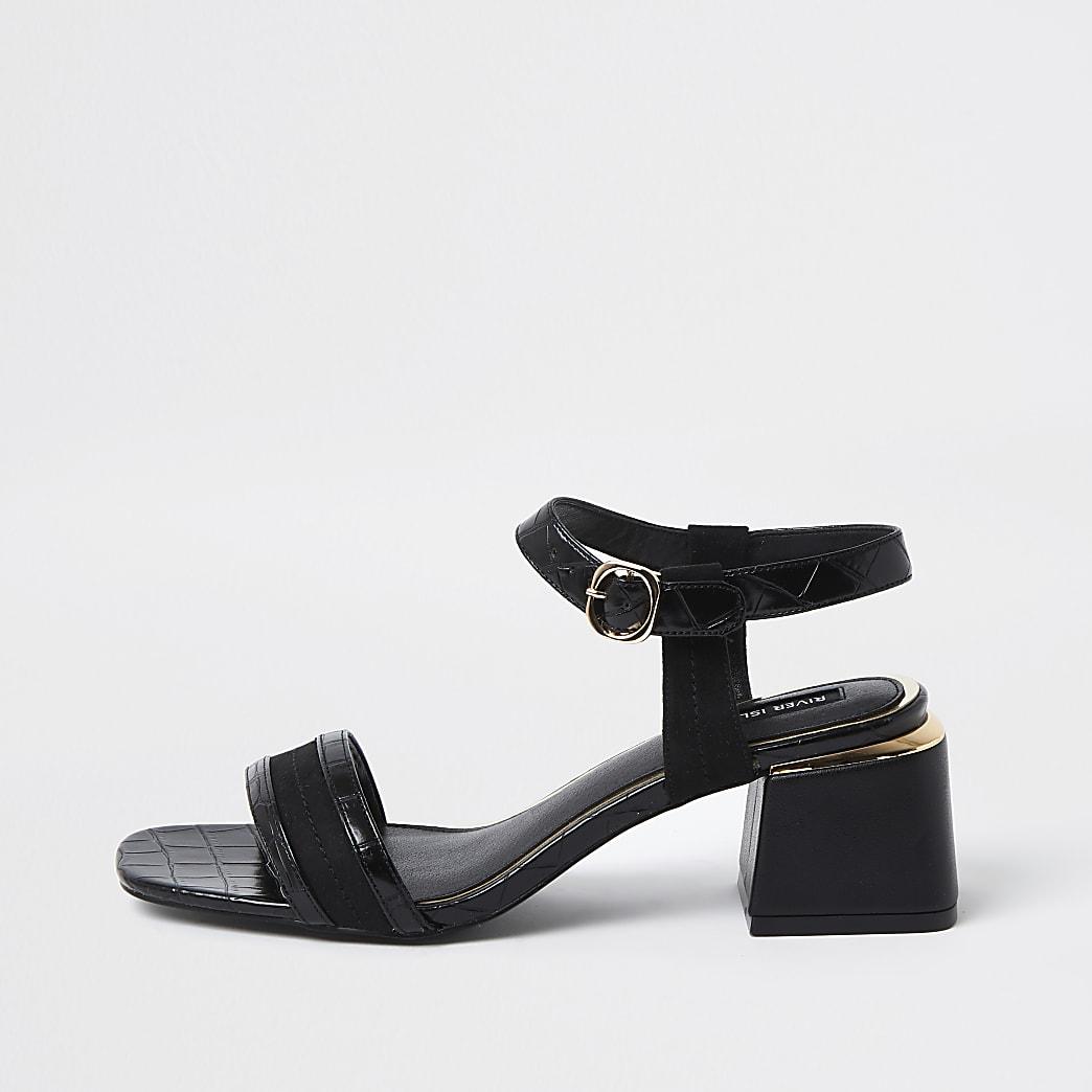 Black and gold block heel sandals