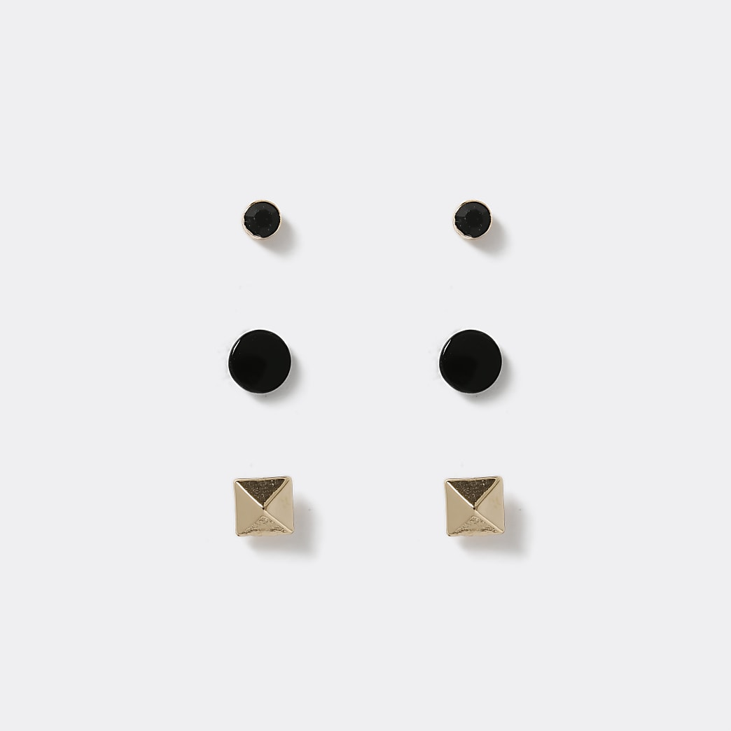 Black and gold stud earrings 3 pack