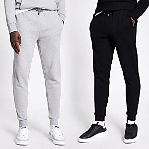 Set van 2 zwarte en grijze joggingbroeken