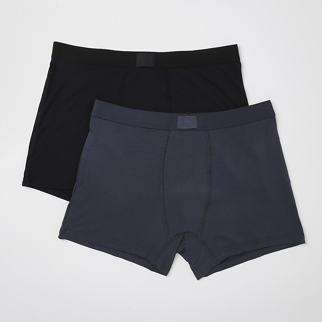 Black & grey premium trunks 2 pack