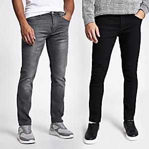 Skinny Fit Jeans in Schwarz und Grau, 2er-Set