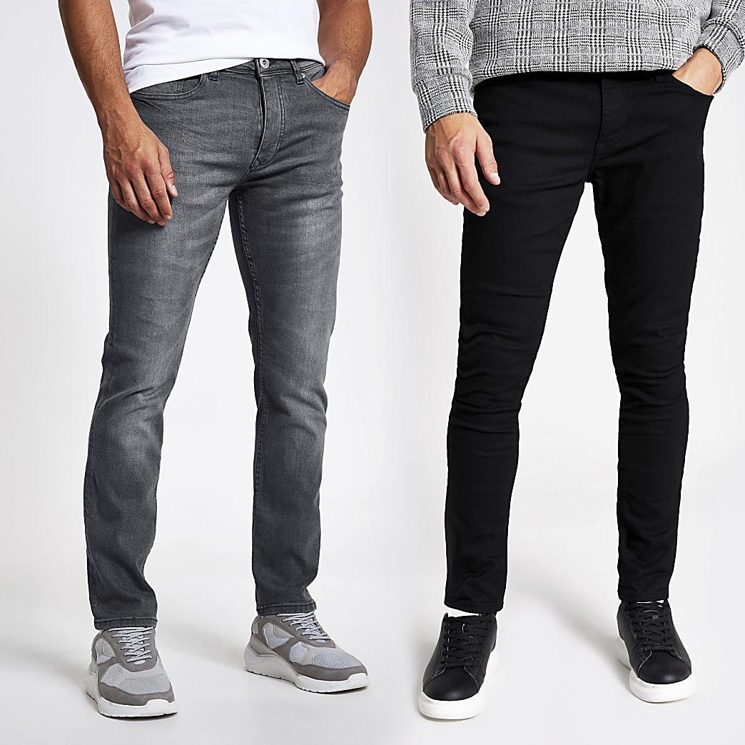 Set van 2 zwarte en grijze skinny jeans