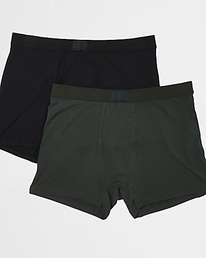 Black & khaki premium trunks 2 pack