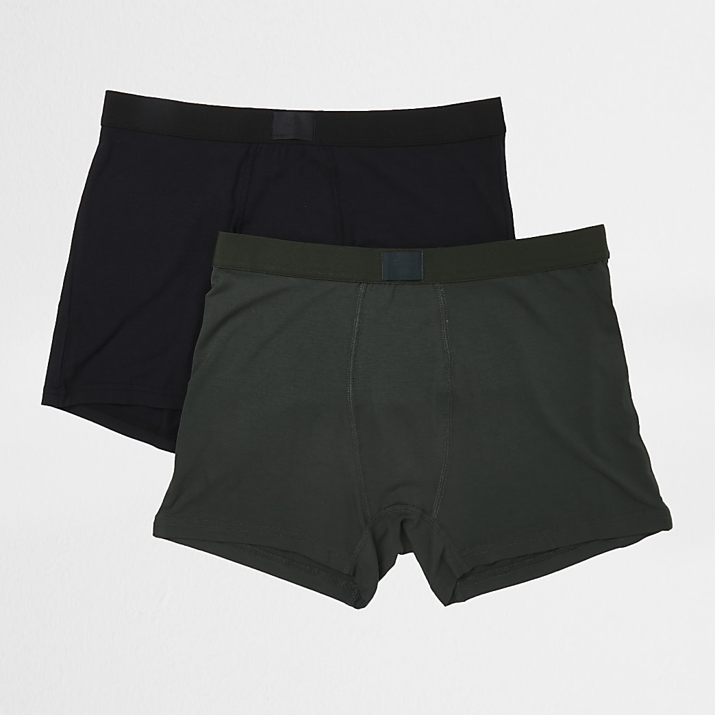 Black & khaki premium trunks 2 pack