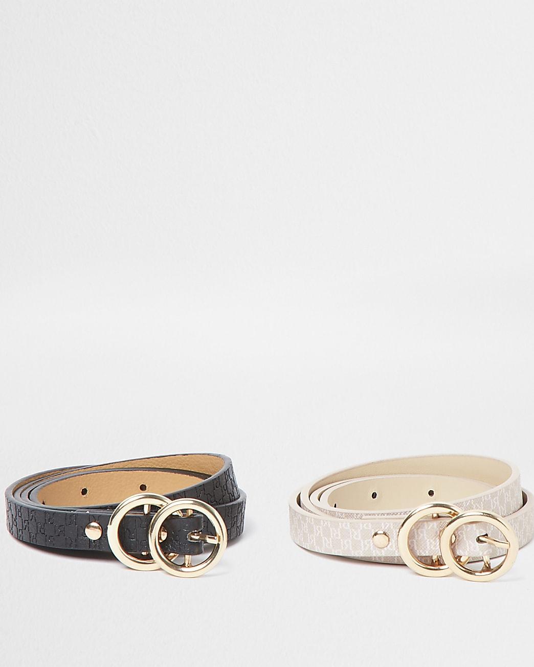 Black and pink RI monogram belts multipack
