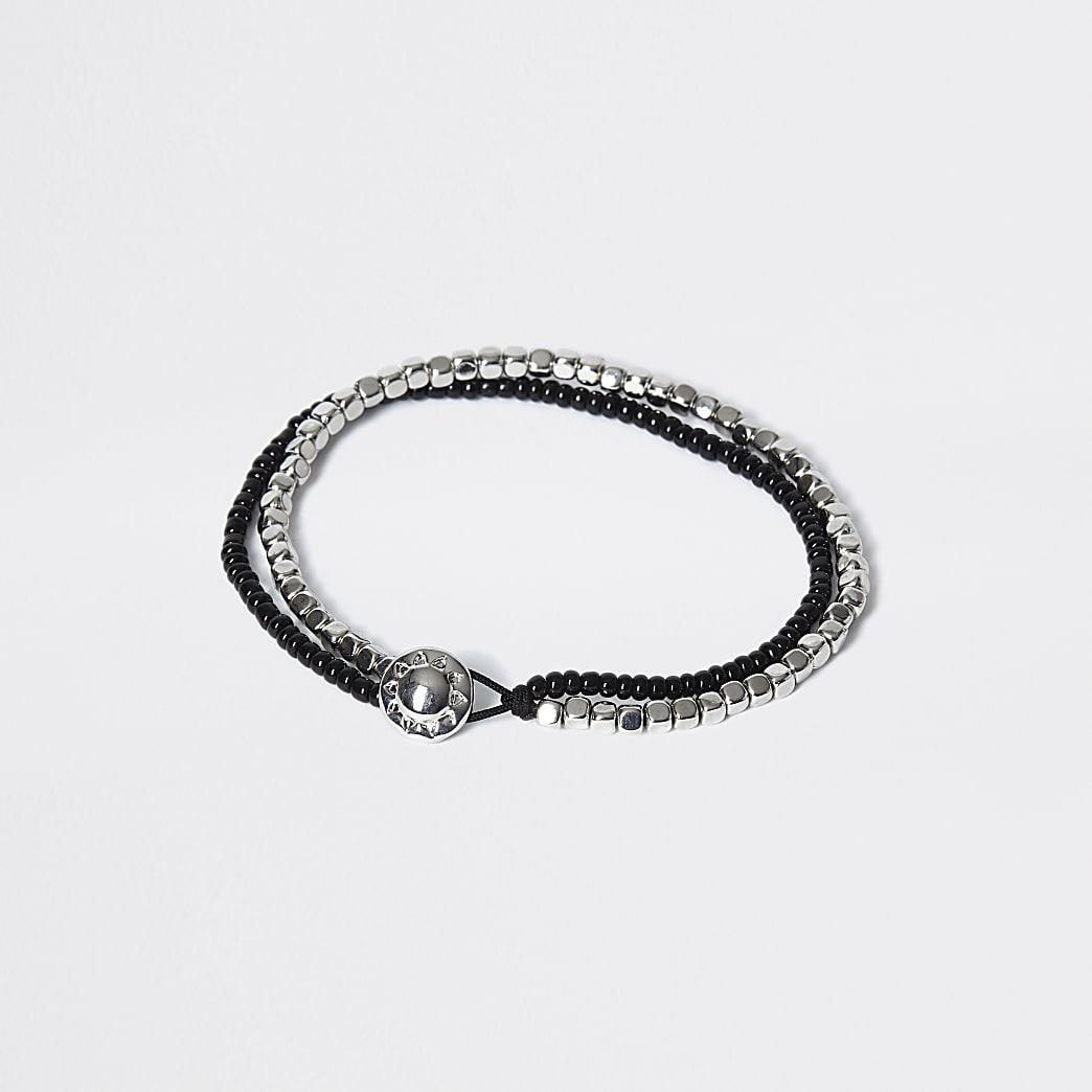 Bracelet double avec perles noires etargentées
