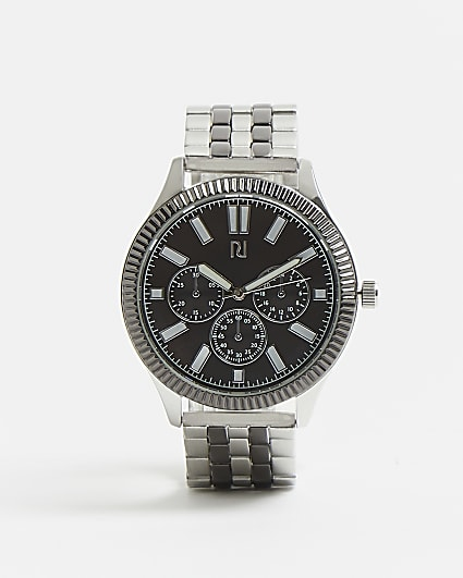 Black and silver RI branded link strap watch