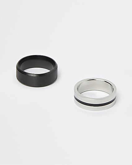 Black and silver stripe band rings 2 pack