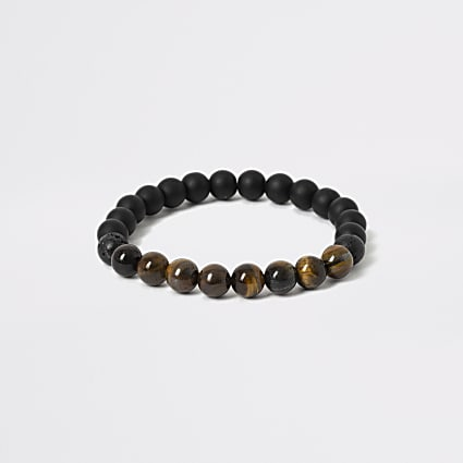Black and tiger stone bead wristband