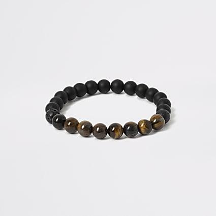 Black and tiger stone bead wristband