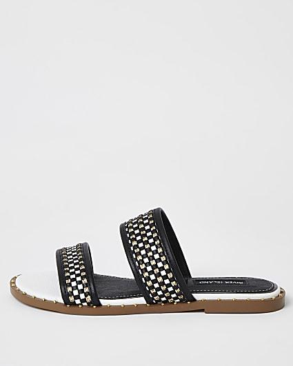 Black and white chain strap sandals