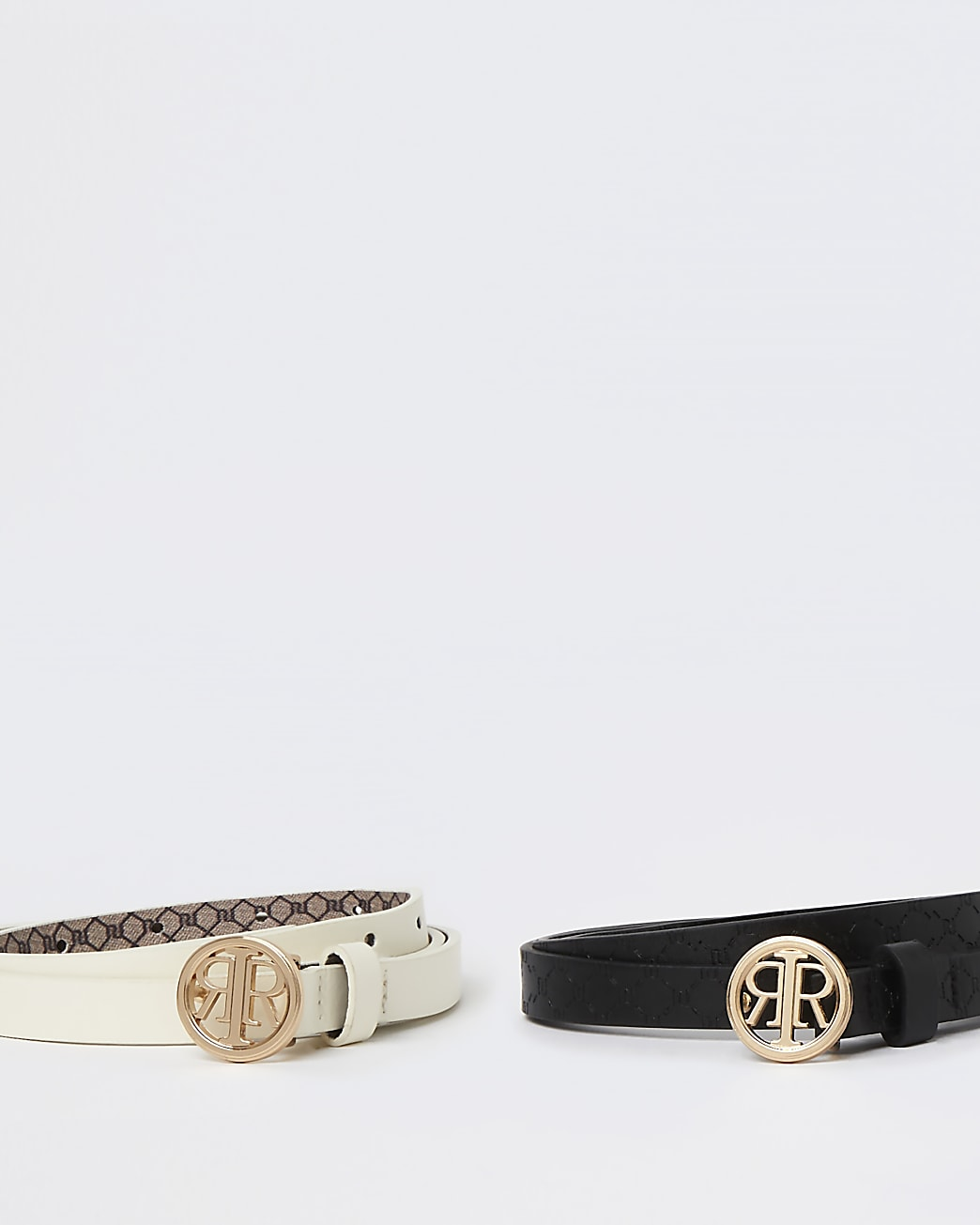 Black and white RI buckle belts multipack