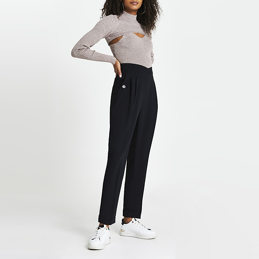 Black angled waistband peg trousers